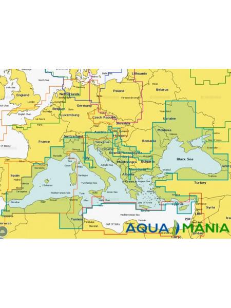"""Карта """" Дніпро, Середземне і Чорне море (код 43XG) """" NAVIONICS GOLD для Lowrance, Eagle, Humminbird - Опис карти"""
