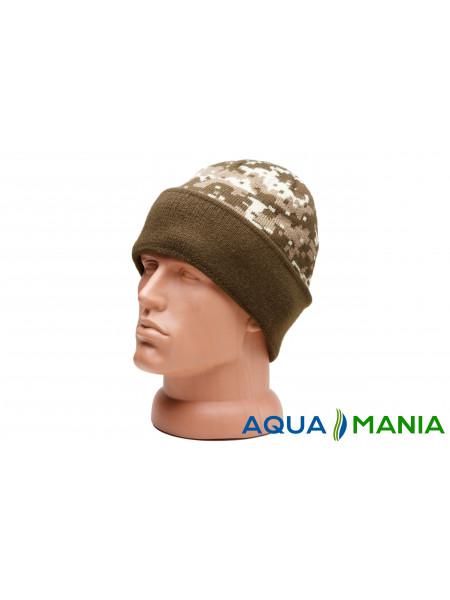 Теплая вязаная шапка с подкладкой флисовая