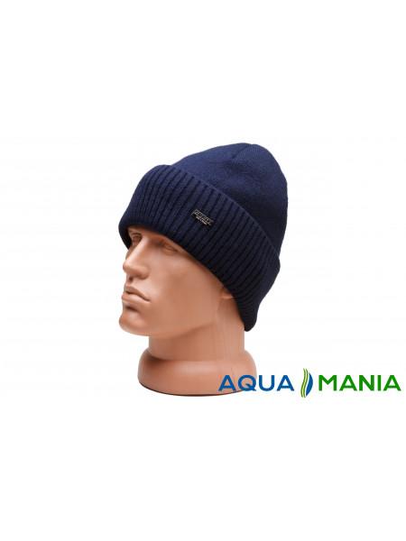 Теплая вязаная шапка с флисовой подкладкой