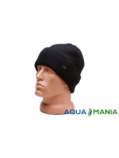 Вязаная теплая шапка с подкладкой флис