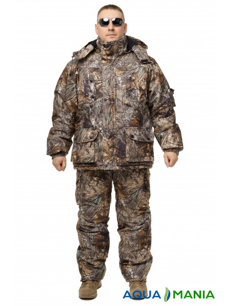 Зимний дышащий костюм, штаны полукомбинезон осенний лес размер 46-62