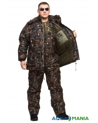 """Костюм для зимней рыбалки из мембранной ткани """"Темный лес"""" до -30℃ размер 46-62"""